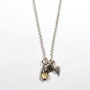 Stella & Dot 925 Heart Leaf Charm Necklace